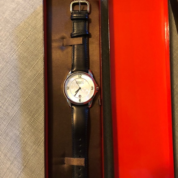 3d6c0b000 Coach Accessories | Used Watch Black Leather Band Unisex | Poshmark